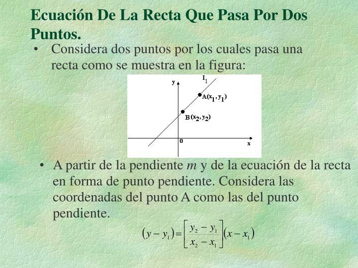 Ecuación De La Recta Que Pasa Por Dos Puntos.