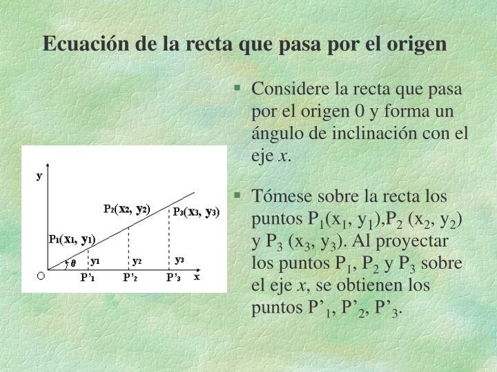 Ecuación de la recta que pasa por el origen