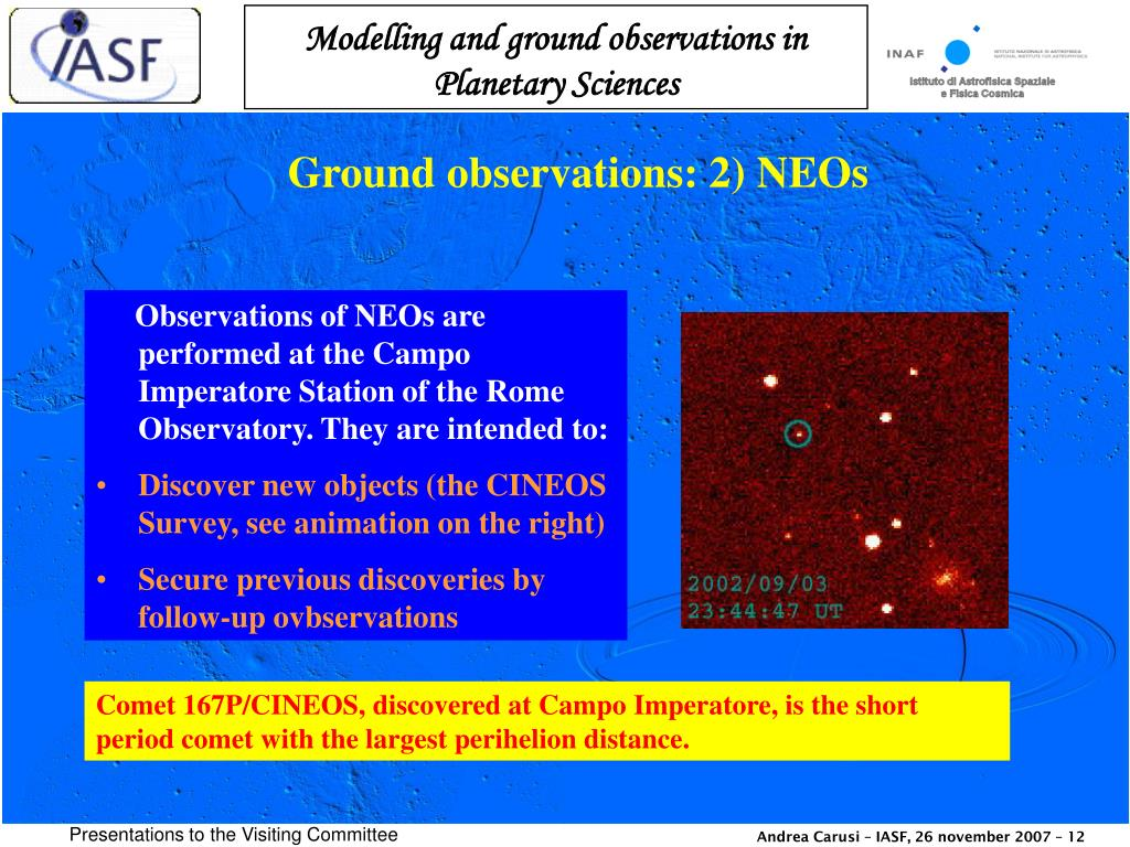 Ground observations: 2) NEOs
