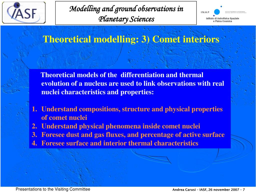 Theoretical modelling: 3) Comet interiors