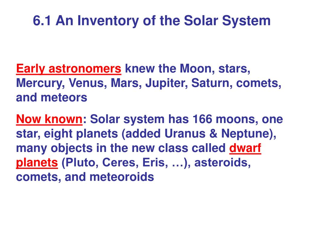 6.1 An Inventory of the Solar System