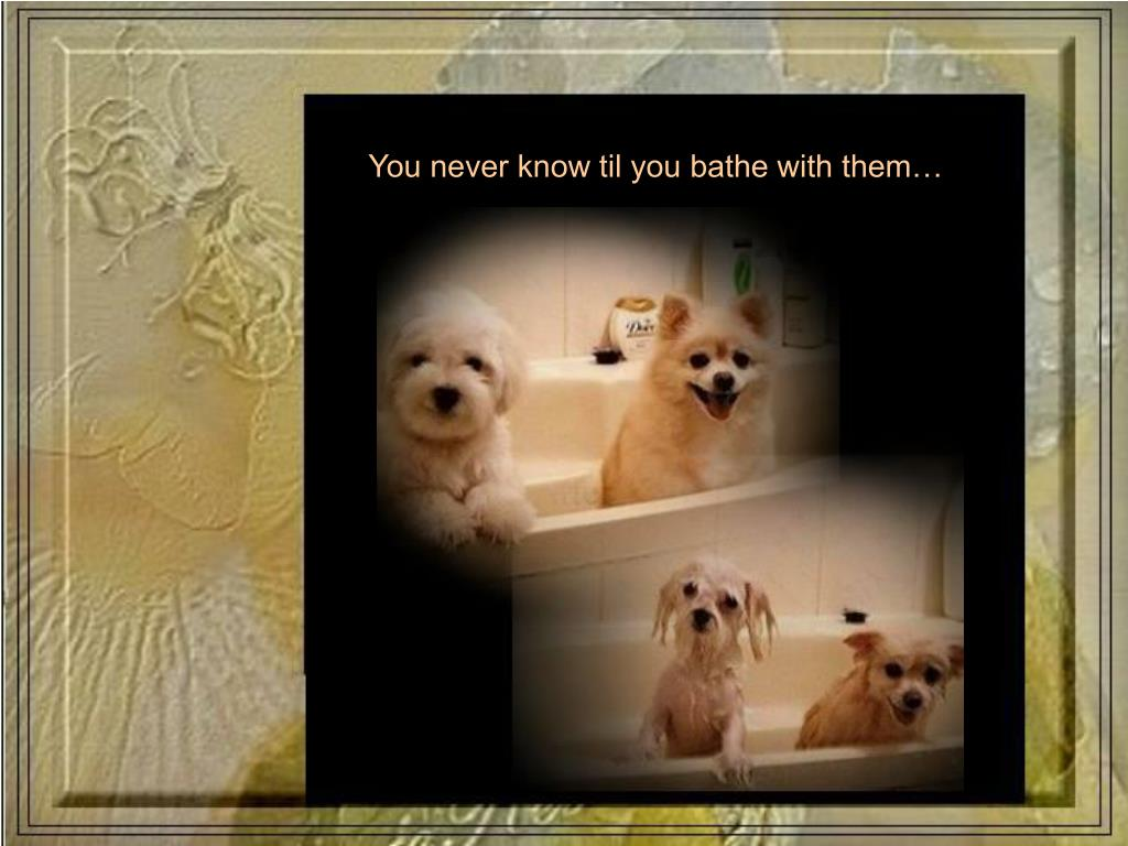 You never know til you bathe with them…