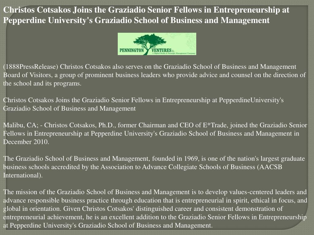 Christos Cotsakos Joins the Graziadio Senior Fellows in Entrepreneurship at Pepperdine University's Graziadio School of Business and Management