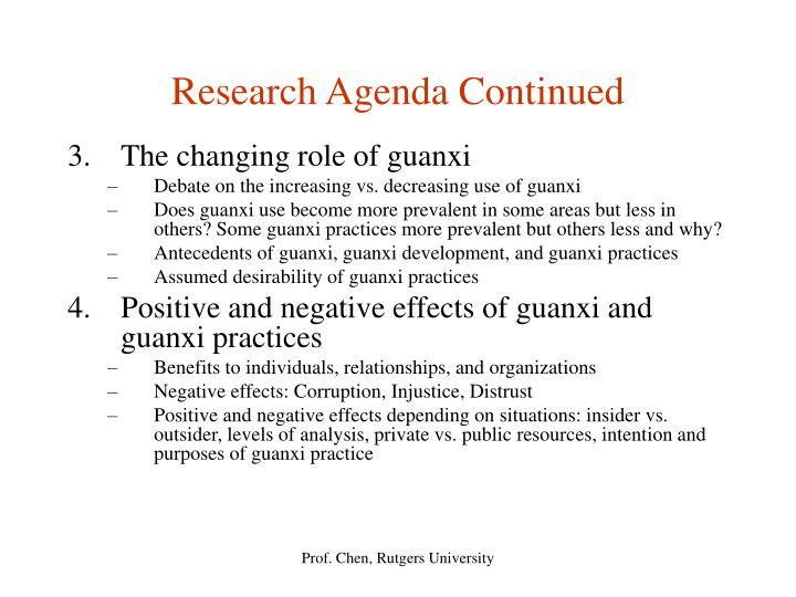 Research Agenda Continued