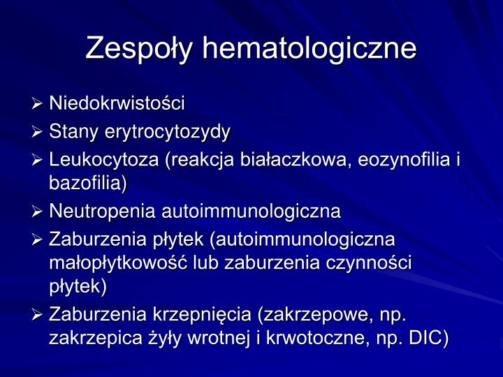 Zespoy hematologiczne