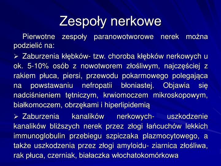 Zespoy nerkowe