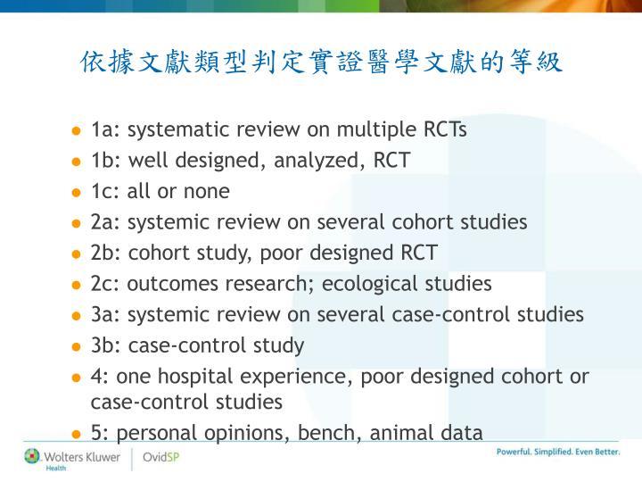 依據文獻類型判定實證醫學文獻的等級