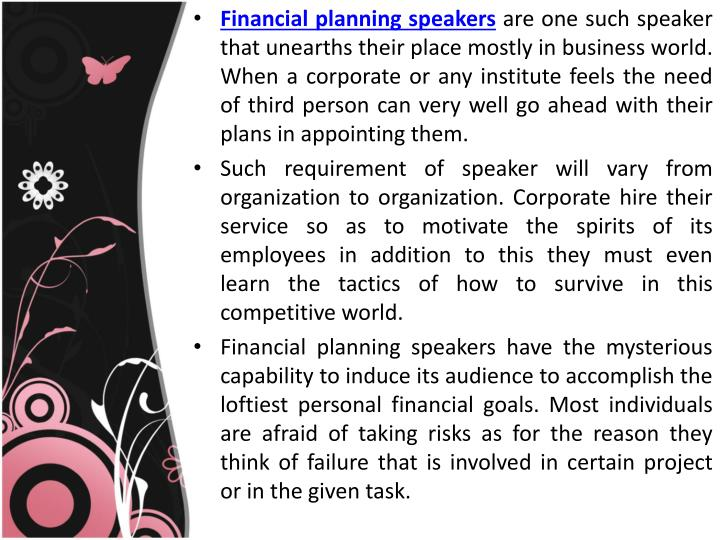 Financial planning speakers