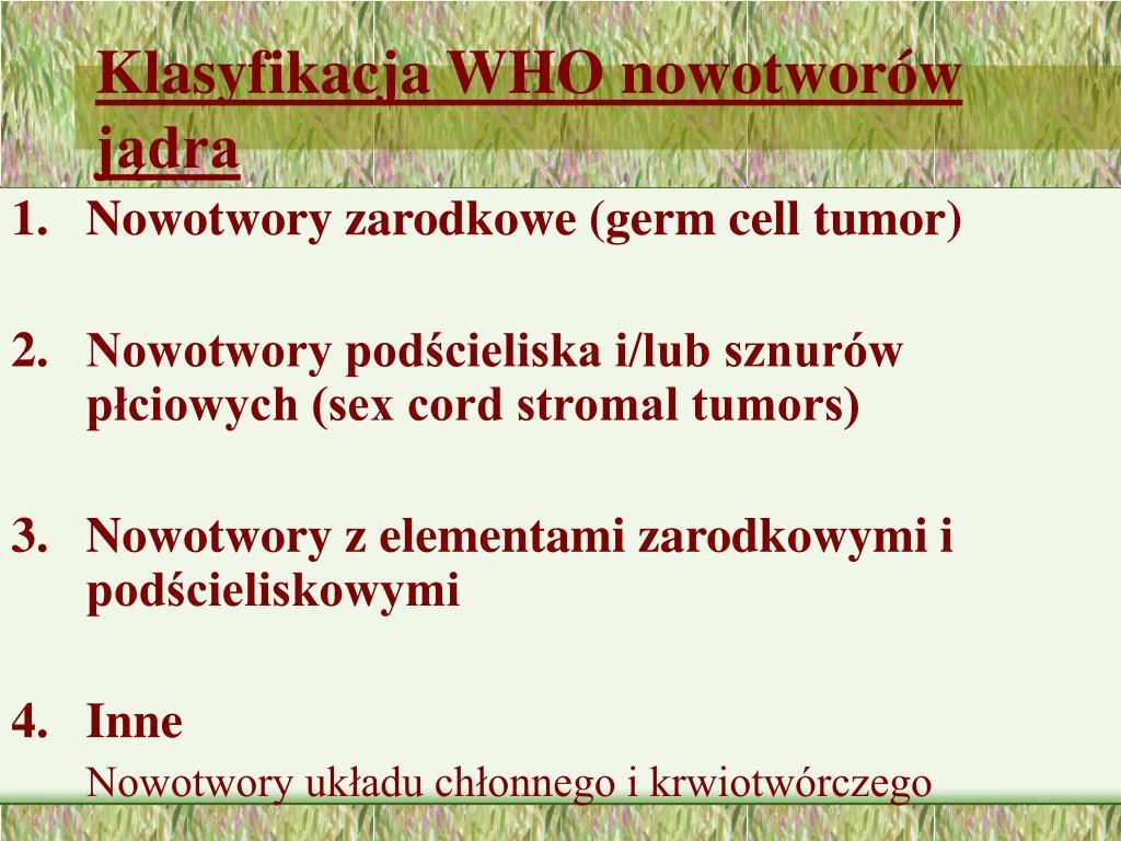 Klasyfikacja WHO nowotworów jądra