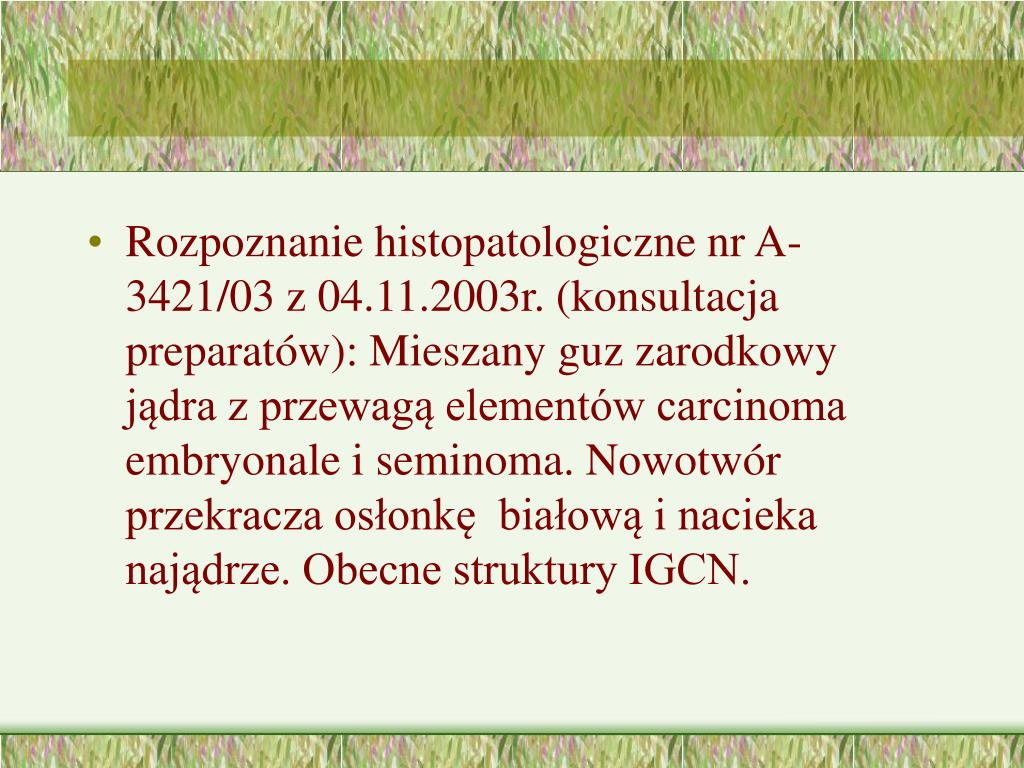 Rozpoznanie histopatologiczne nr A- 3421/03 z 04.11.2003r. (konsultacja preparatów): Mieszany guz zarodkowy jądra z przewagą elementów carcinoma embryonale i seminoma. Nowotwór przekracza osłonkę  białową i nacieka najądrze. Obecne struktury IGCN.