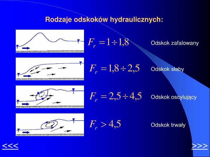 Rodzaje odskoków hydraulicznych: