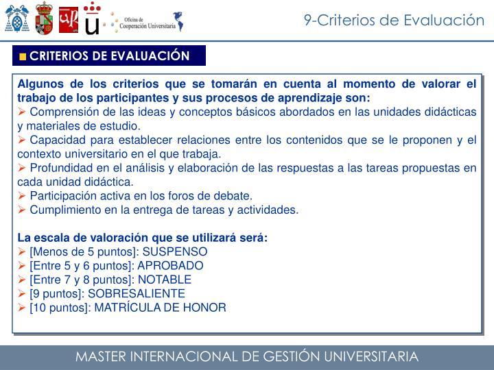 9-Criterios de Evaluación