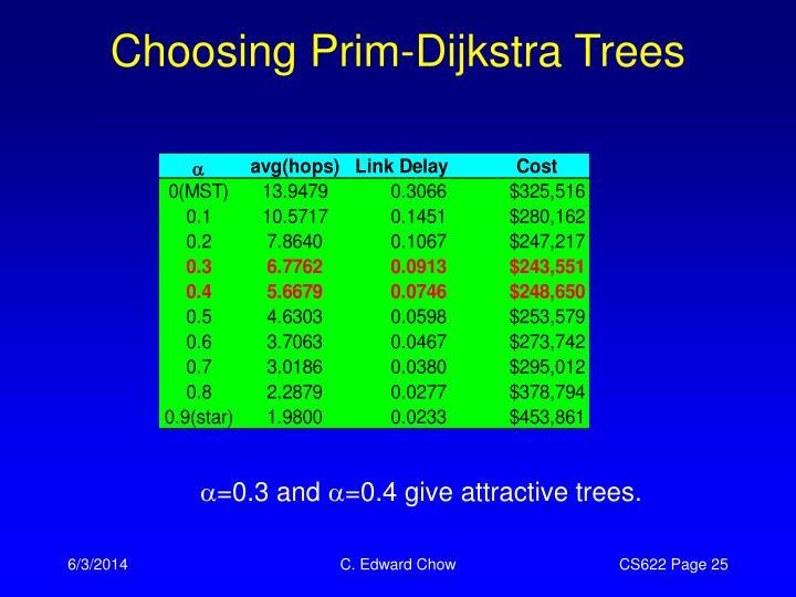 Choosing Prim-Dijkstra Trees