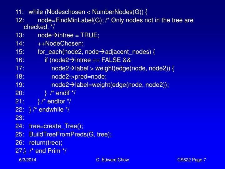 11:   while (Nodeschosen < NumberNodes(G)) {