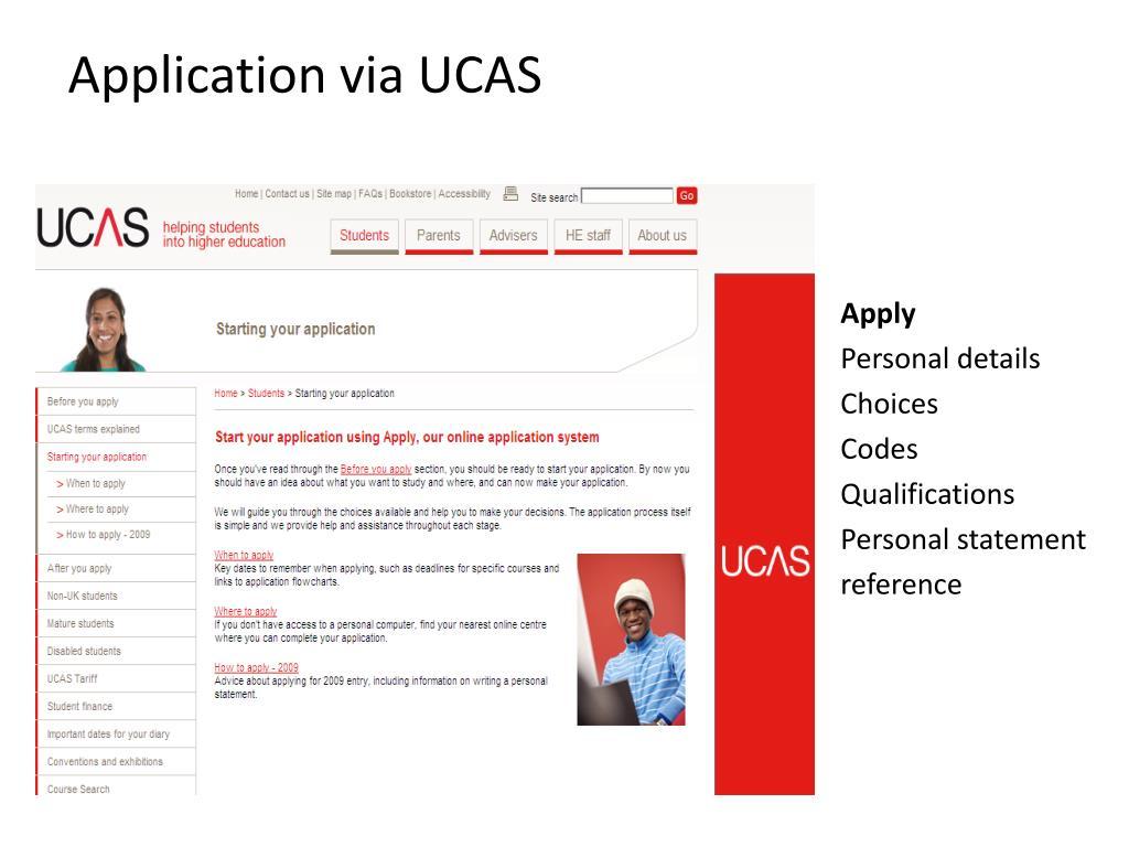 Application via UCAS