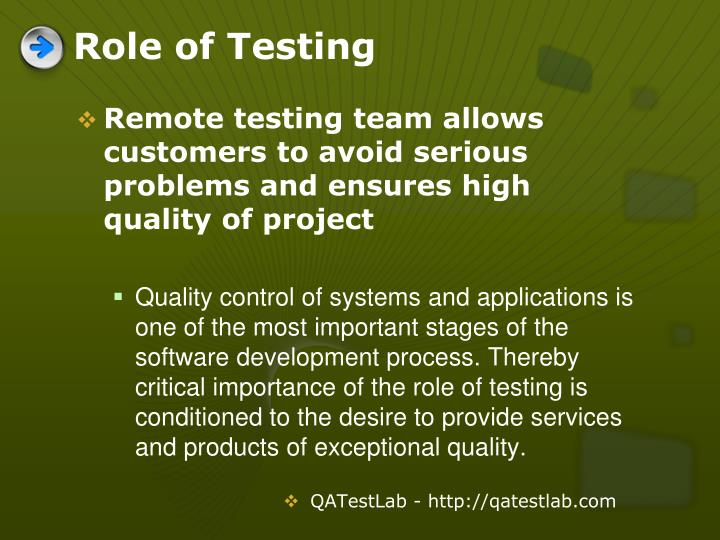 Role of testing l.jpg