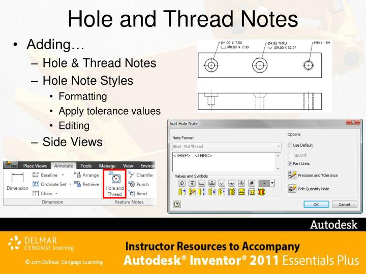 Hole and Thread Notes