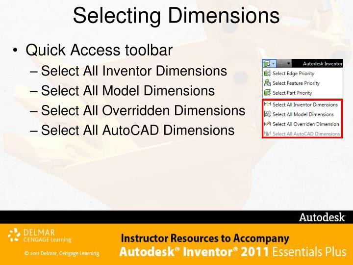 Selecting Dimensions