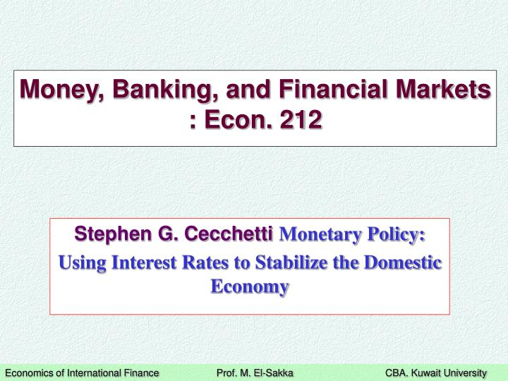 money banking and financial markets econ 212