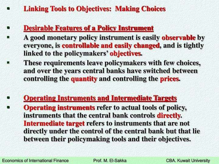 Linking Tools to Objectives:  Making Choices