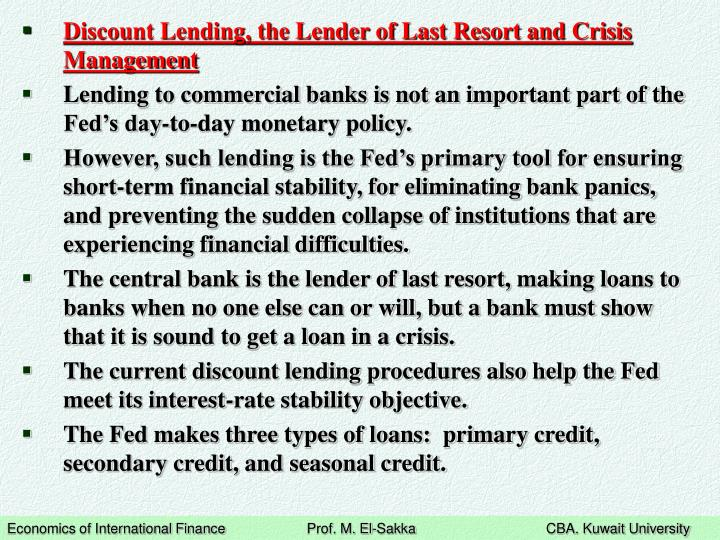 Discount Lending, the Lender of Last Resort and Crisis Management