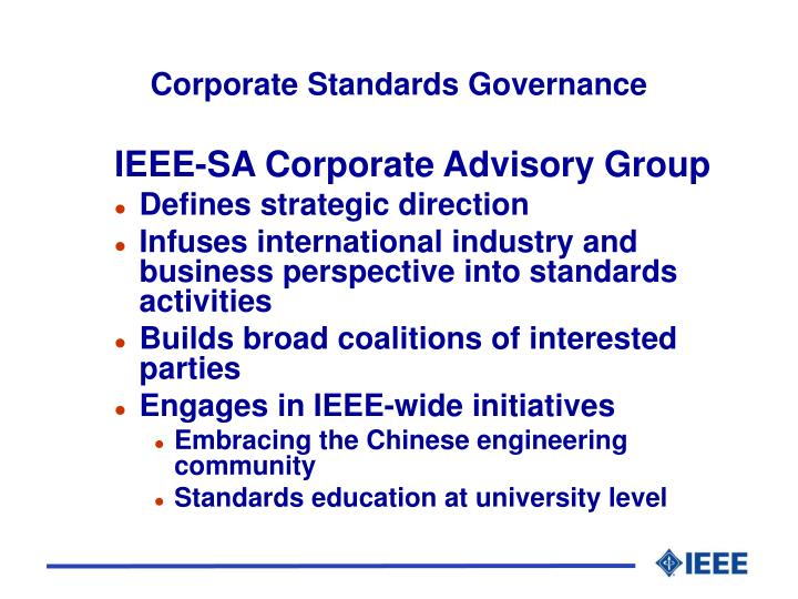Corporate Standards Governance