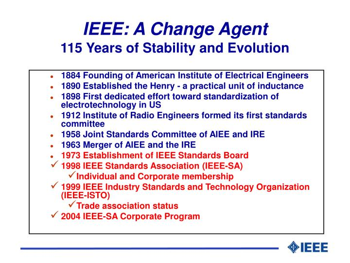 Ieee a change agent 115 years of stability and evolution