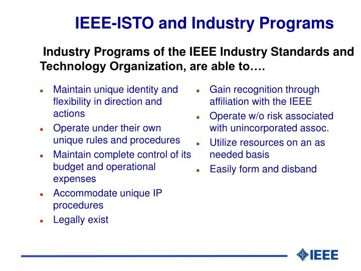 IEEE-ISTO and Industry Programs