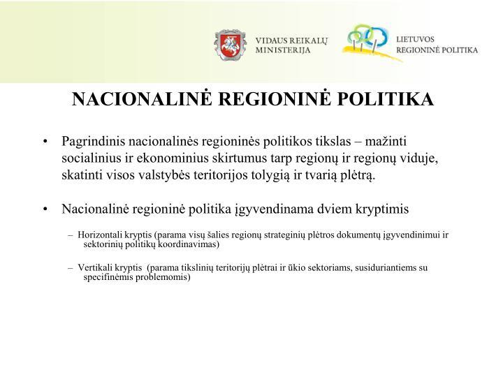 NACIONALINĖ REGIONINĖ POLITIKA
