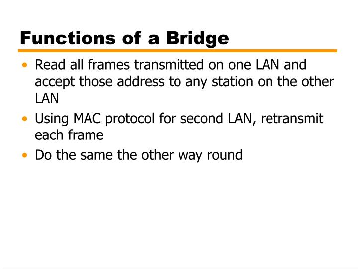 Functions of a Bridge