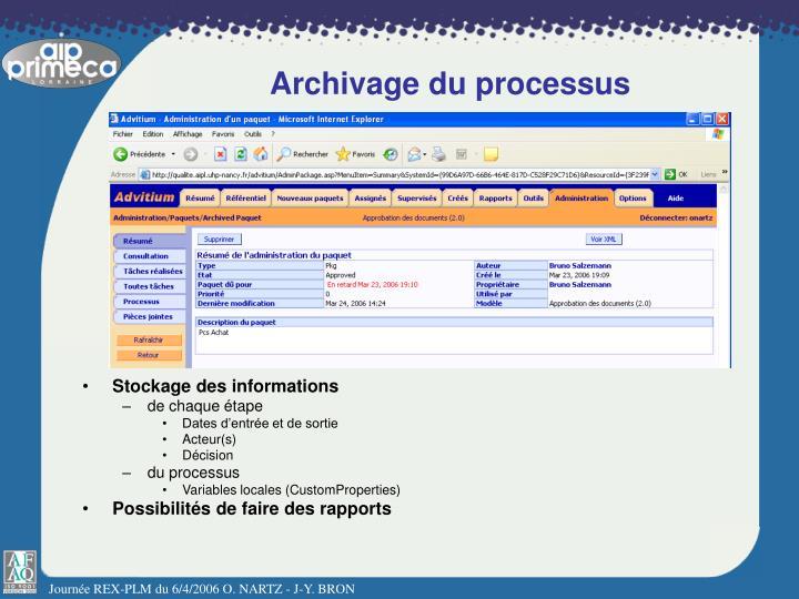 Archivage du processus
