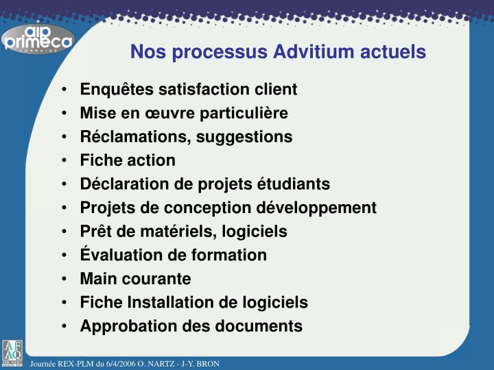 Nos processus Advitium actuels