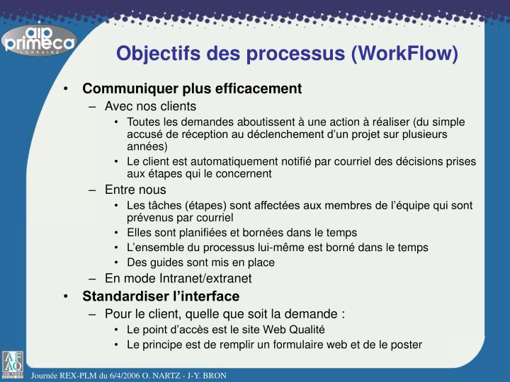 Objectifs des processus (WorkFlow)