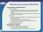 objectifs des processus workflow