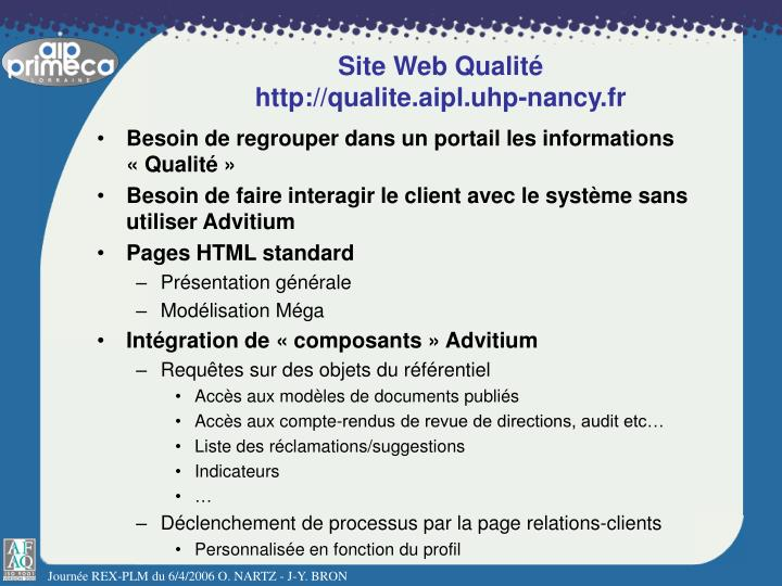 Site Web Qualité