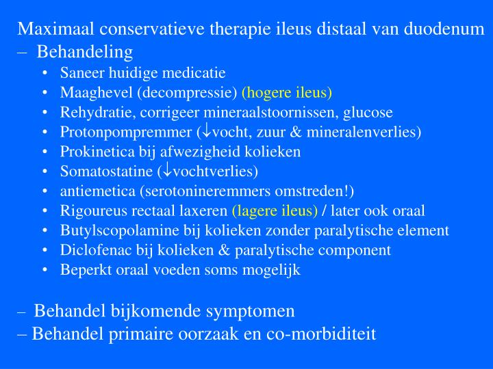 Maximaal conservatieve therapie ileus distaal van duodenum