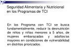 seguridad alimentaria y nutricional en los programas de tci