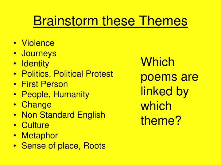 Brainstorm these Themes