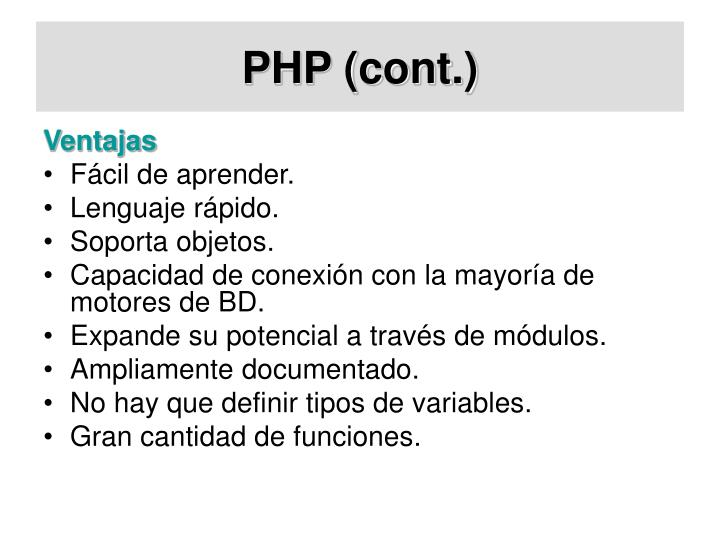 PHP (cont.)