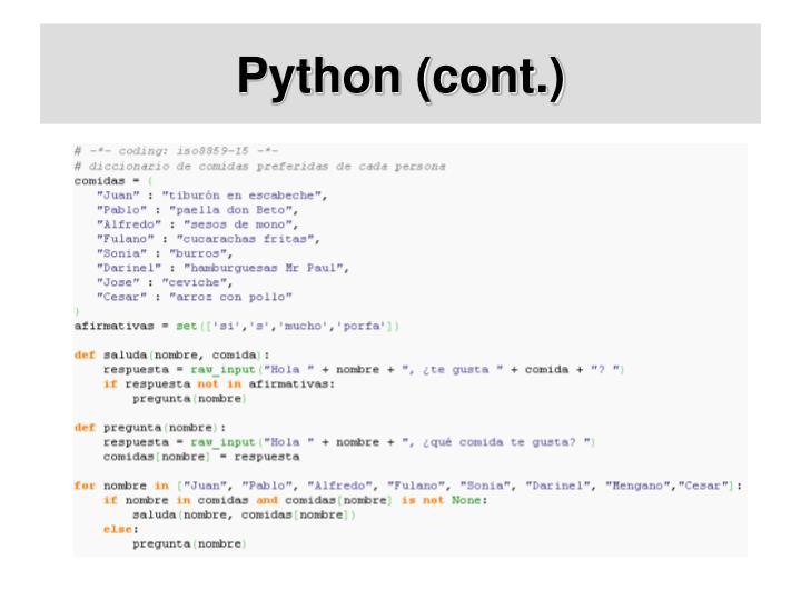 Python (cont.)