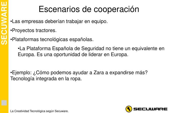 Escenarios de cooperación