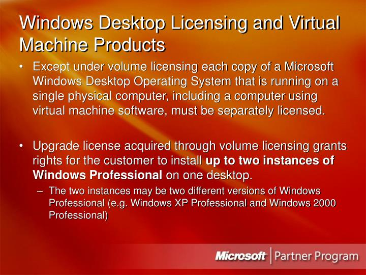 Windows Desktop Licensing and Virtual Machine Products