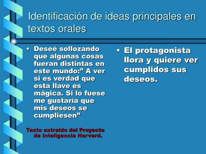 Identificación de ideas principales en textos orales