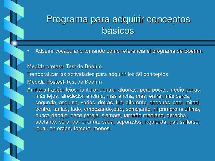 Programa para adquirir conceptos básicos