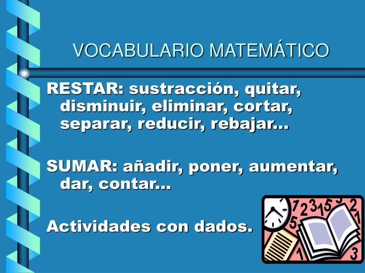 VOCABULARIO MATEMÁTICO
