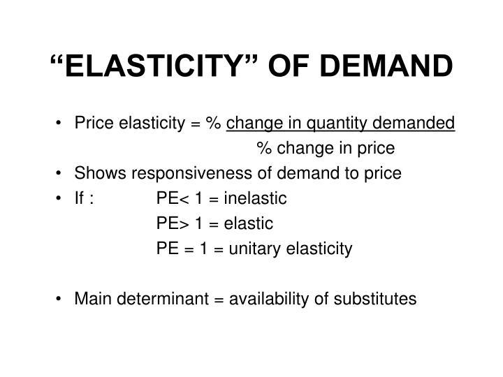 """ELASTICITY"" OF DEMAND"