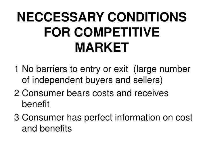 NECCESSARY CONDITIONS FOR COMPETITIVE MARKET