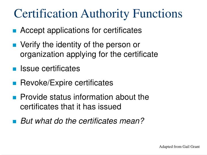 Certification Authority Functions