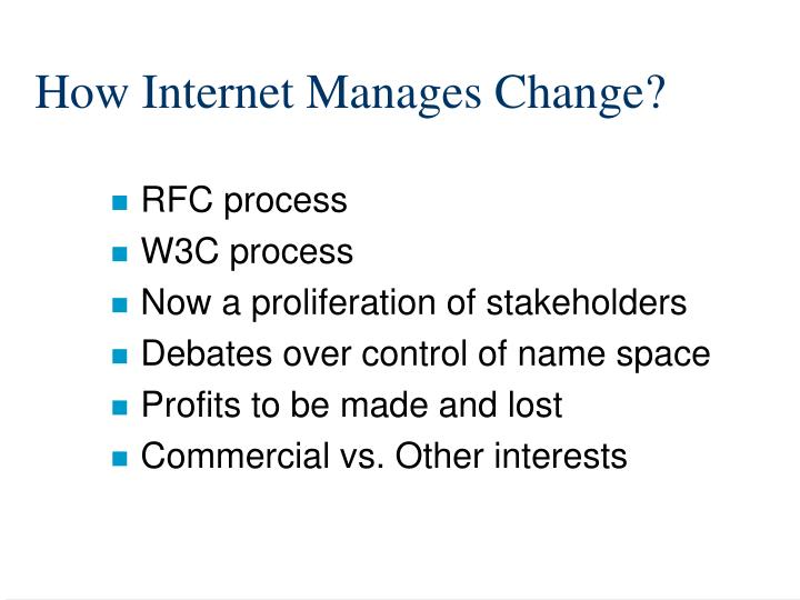 How Internet Manages Change?
