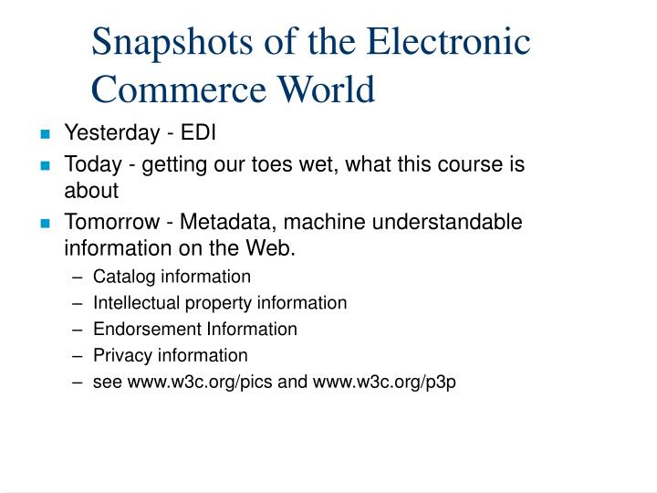 Snapshots of the Electronic Commerce World